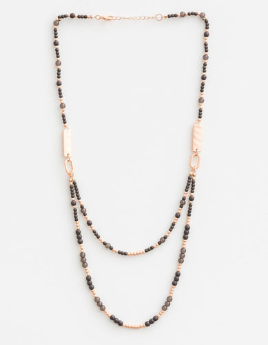 Mixed Greys Matt Rose Gold Necklace