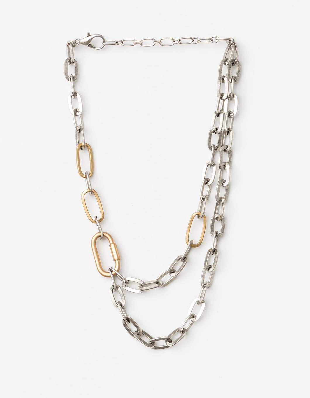 Gold/Silver Duo Chain Choker Necklace