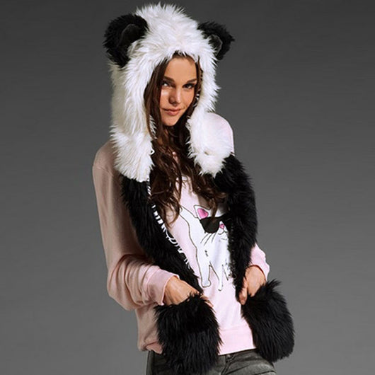 All-in-One Warm Faux Fur Animal Hood, Scarf and Paws Set for Men or Women - epickstore.com
