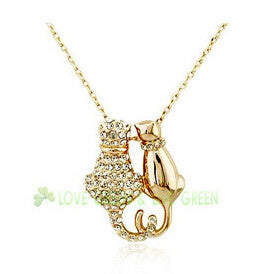Two Cats in Love Pendant 18K Gold Plated Fashion Jewelry