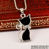 Fashionable Black Cat Necklace Plated in Rose Gold or White Gold
