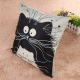 Stunning Square Cartoon Cat Pillow Cover