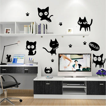 Cartoon Black Cat Wall Art