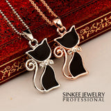 Fashionable Black Cat Necklace Plated in Rose Gold or White Gold - epickstore.com