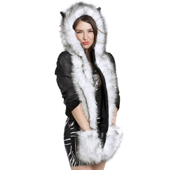 All-in-One Warm Faux Fur Animal Hood, Scarf and Paws Set for Men or Women