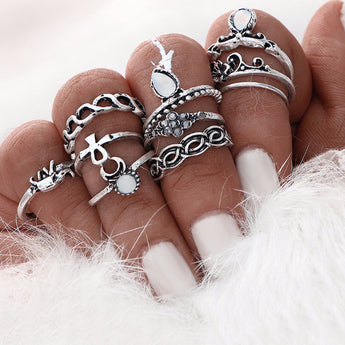 Boho 10 Piece Ring Set for Women