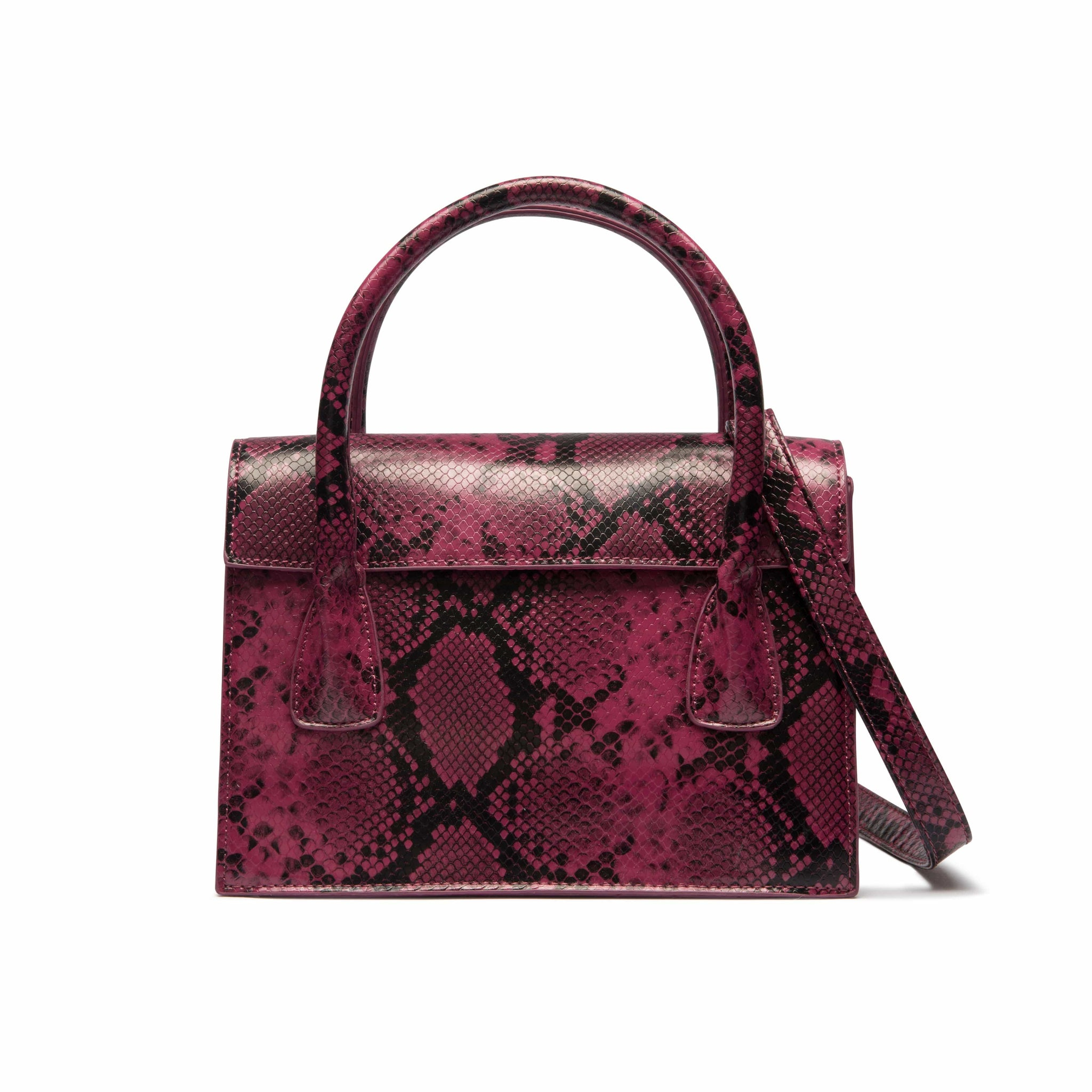 Arabella Crossbody Bag (Magenta/Black Snakeskin)