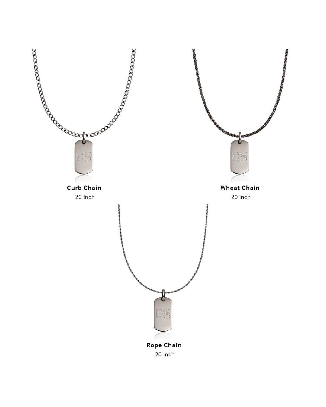 Dog Tag Necklace Set (Gun Silver)