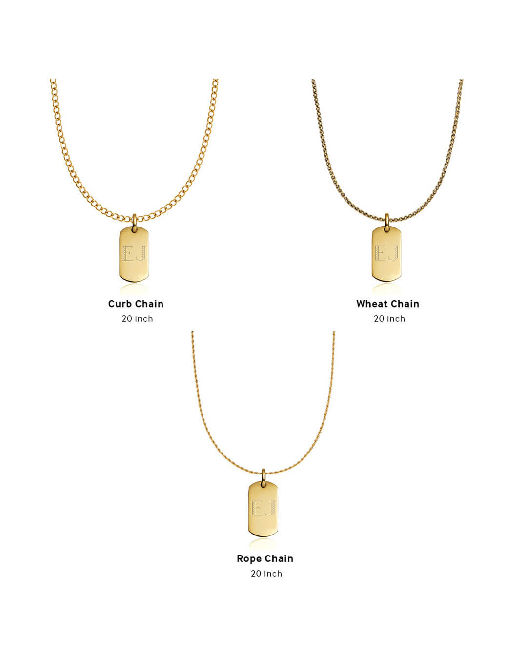 Dog Tag Necklace Set (Brass)