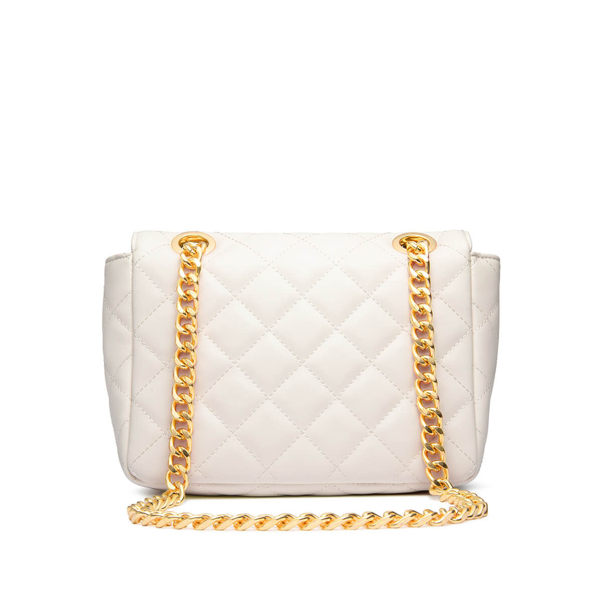 Ivory Flap Quilted Bag (Gold)