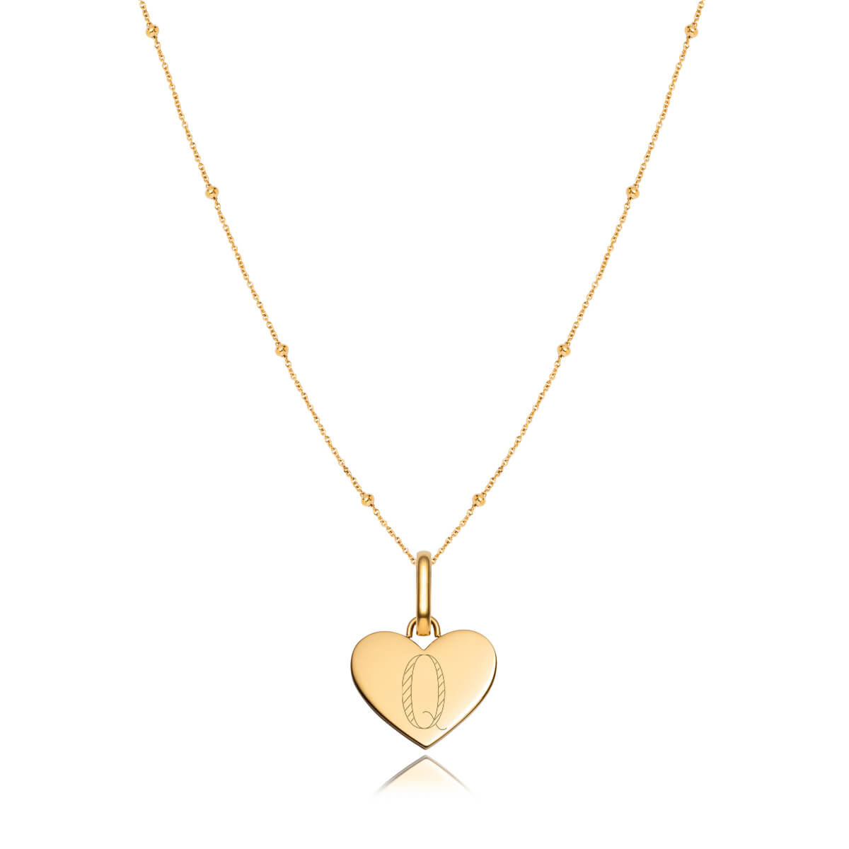 Heart Sphere Chain Necklace 16 in (Gold)