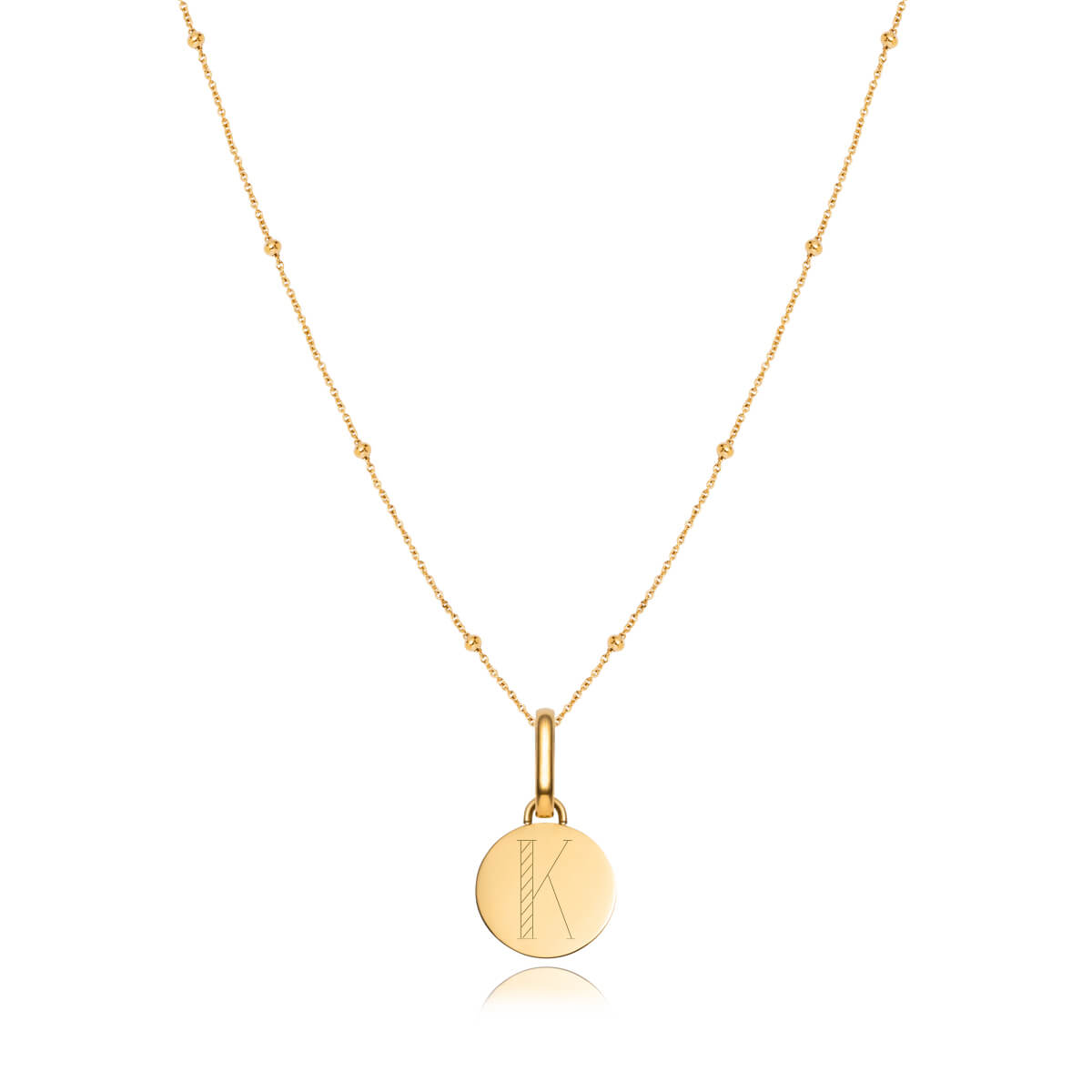 Circular Sphere Chain Necklace 20 in (Gold)