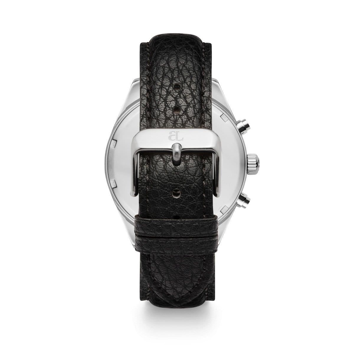 Jet Black Leather Silver Chronograph 42