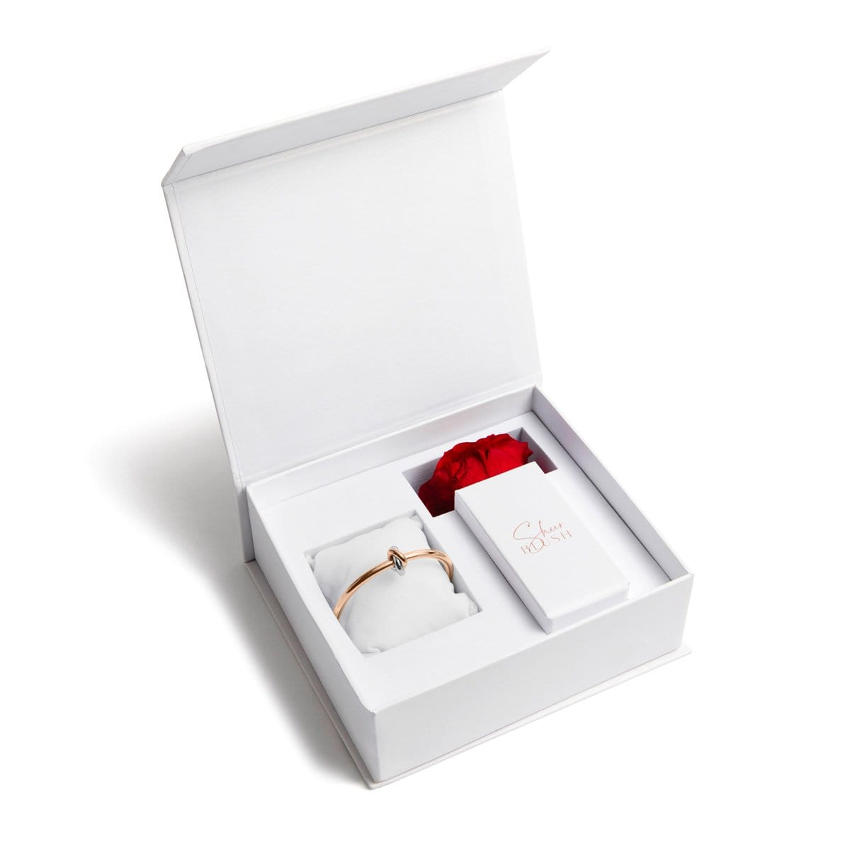 Rose Gold Knot Eternal Rose Gift Set (Ruby)