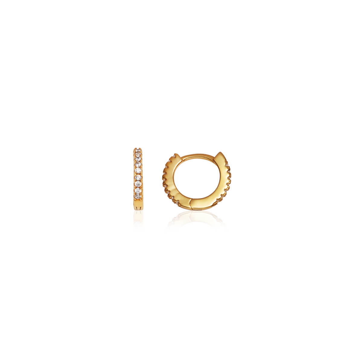 Sterling Silver Crystal Huggie Hoop Earrings (Gold)