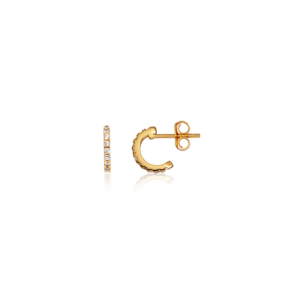 Sterling Silver Crystal Mini Hoop Earrings (Gold)