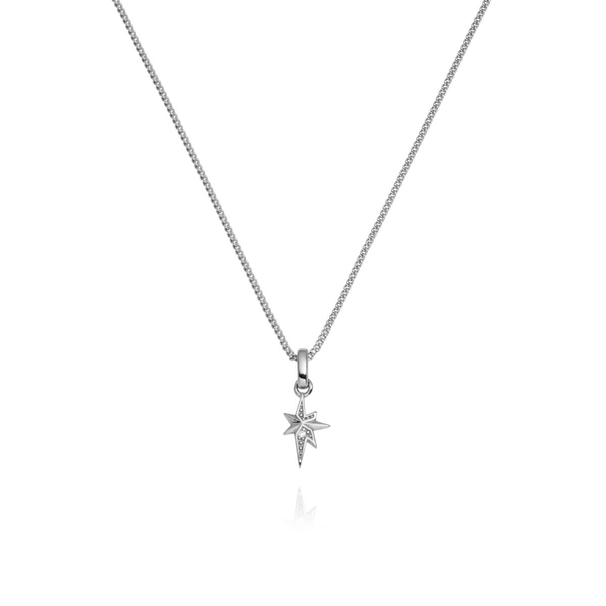 Sterling Silver Mini Starburst Necklace (Silver)