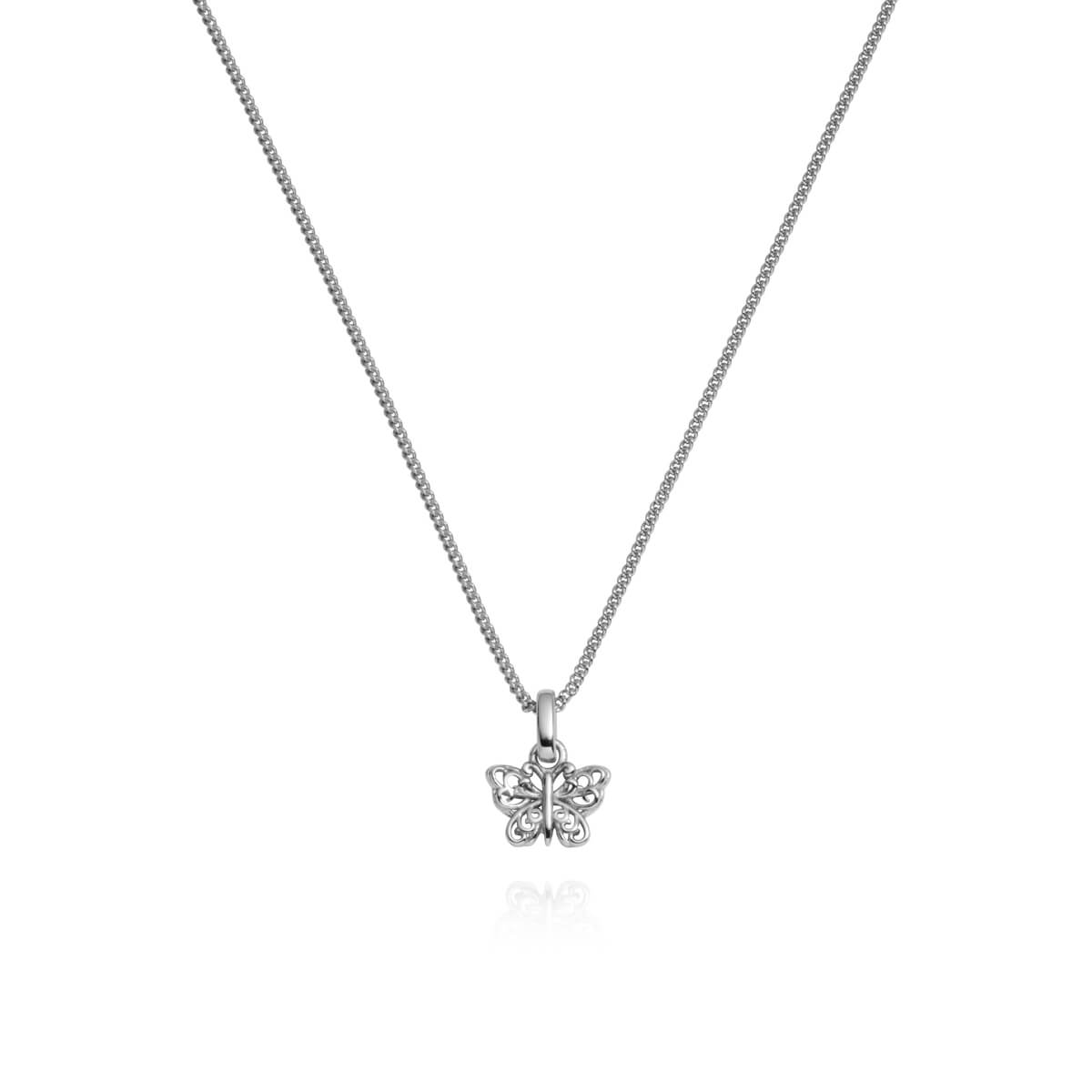 Sterling Silver Mini Butterfly Necklace (Silver)