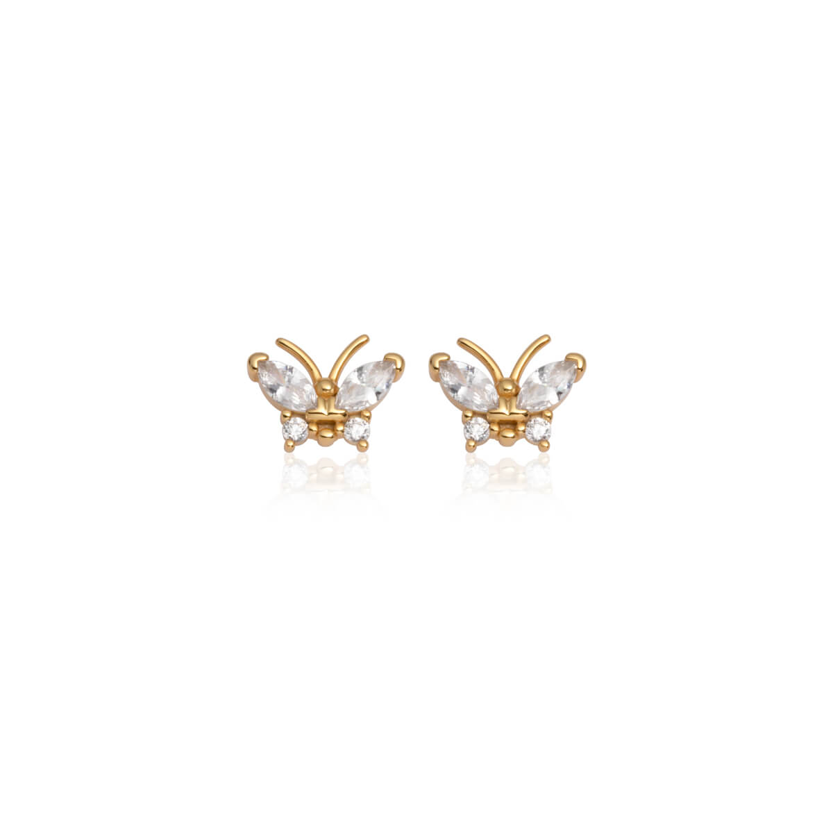 Sterling Silver Crystal Butterfly Stud Earrings (Gold)