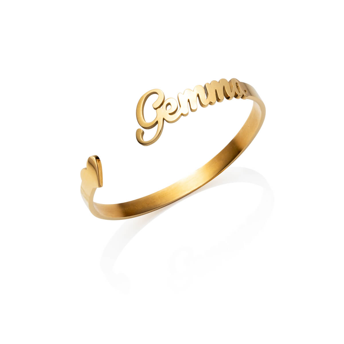 Love Heart Name Bangle (Gold)