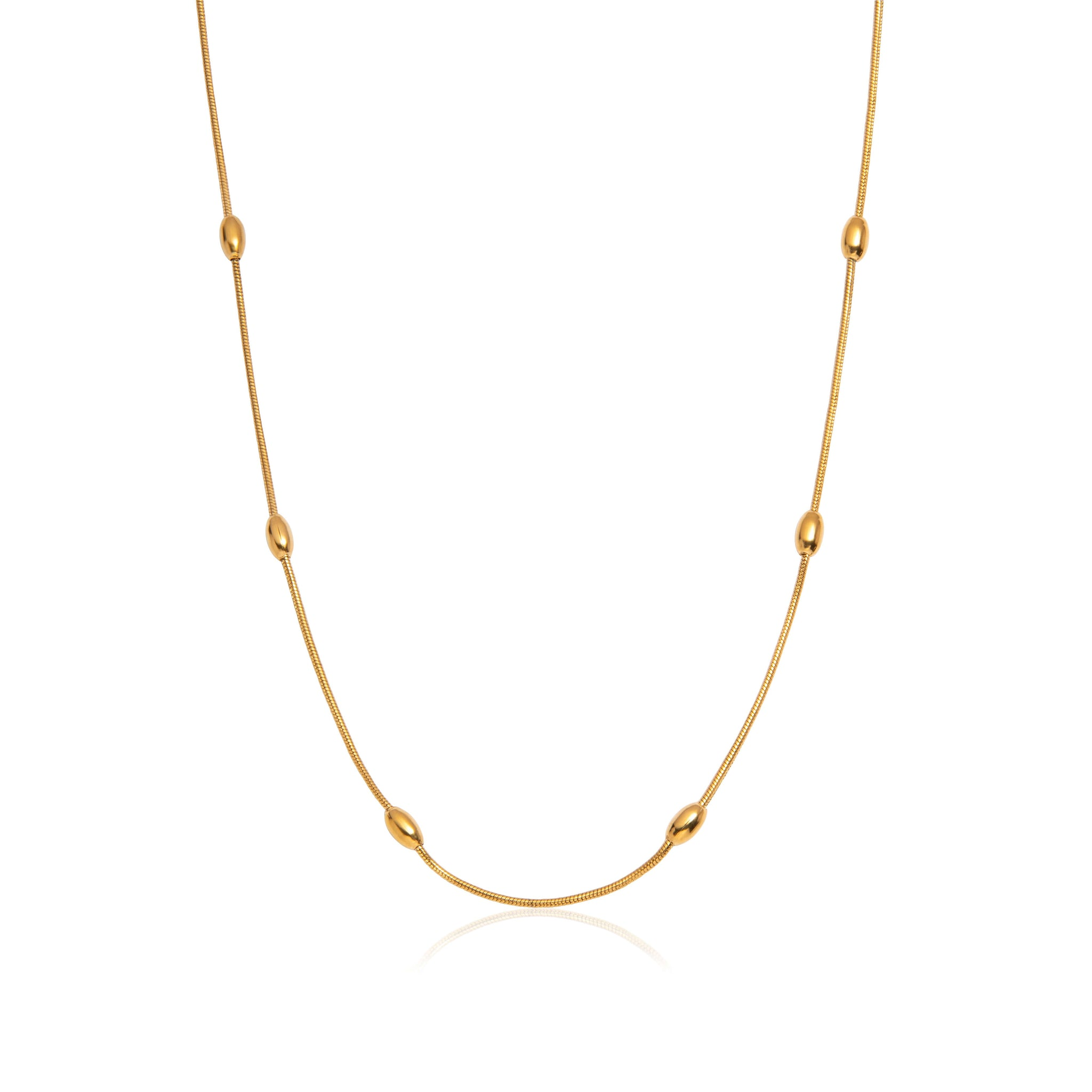 Droplet Sphere Chain Necklace 18 in (Gold)
