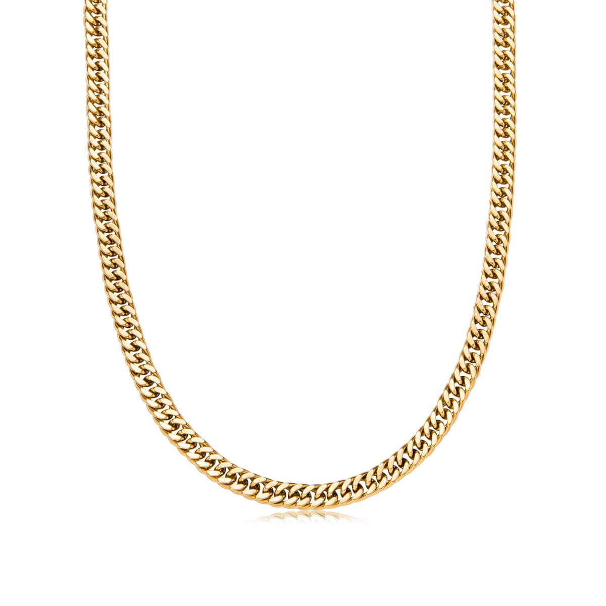 Gold Bar Curb Chain Necklace 18 in (Gold)