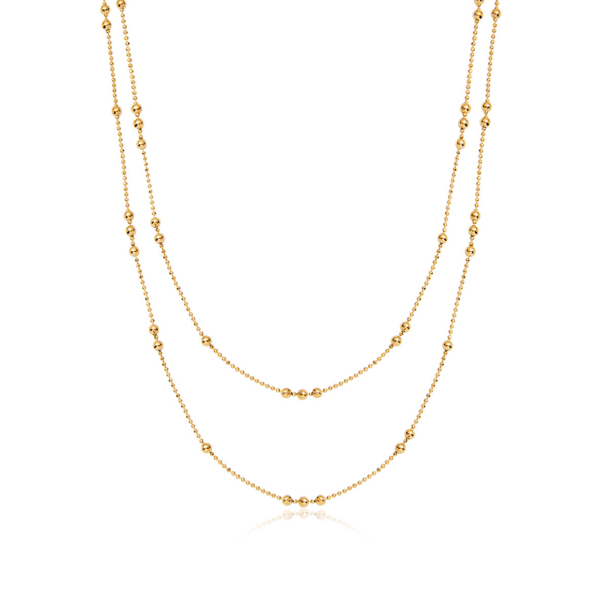 Double Sphere Chain Necklace (Gold)