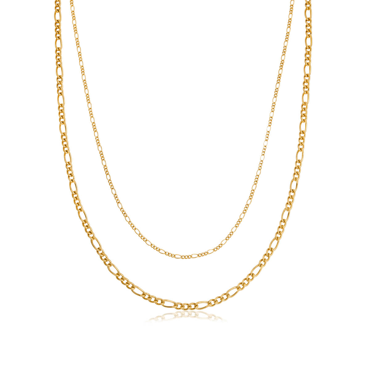 Double Chain Figaro Necklace (Gold)