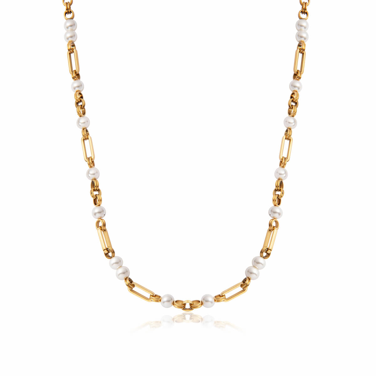 Pearl Figaro Chain Necklace (Gold)