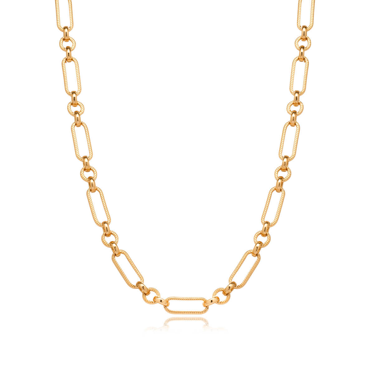 Gold Bar Figaro Chain Necklace (Gold)