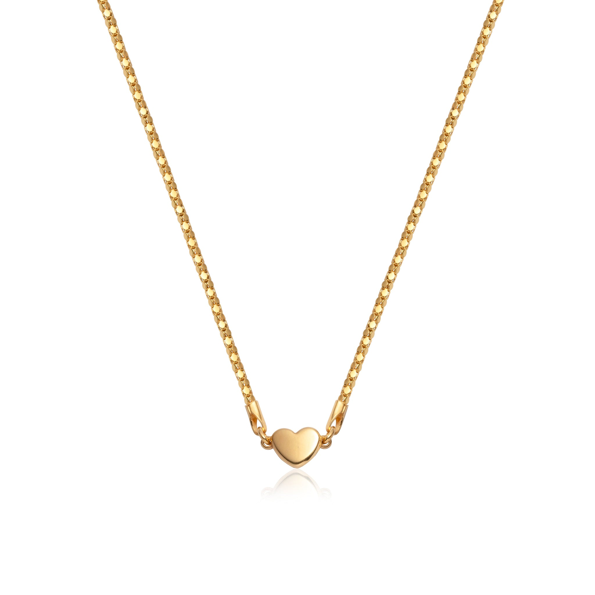 Heart Coreana Chain Necklace 17 in (Gold)