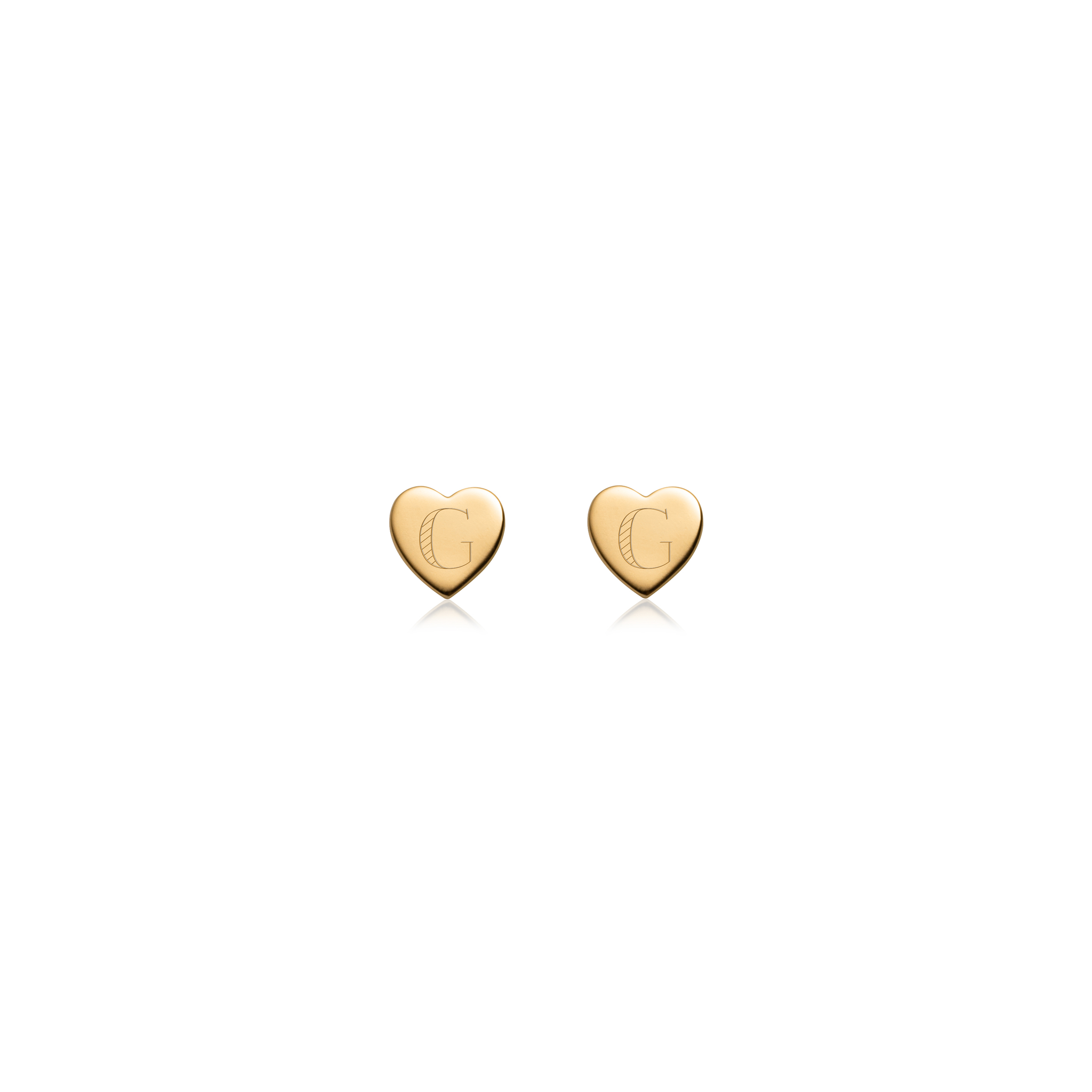 Sterling Silver Heart Stud Earrings (Gold)