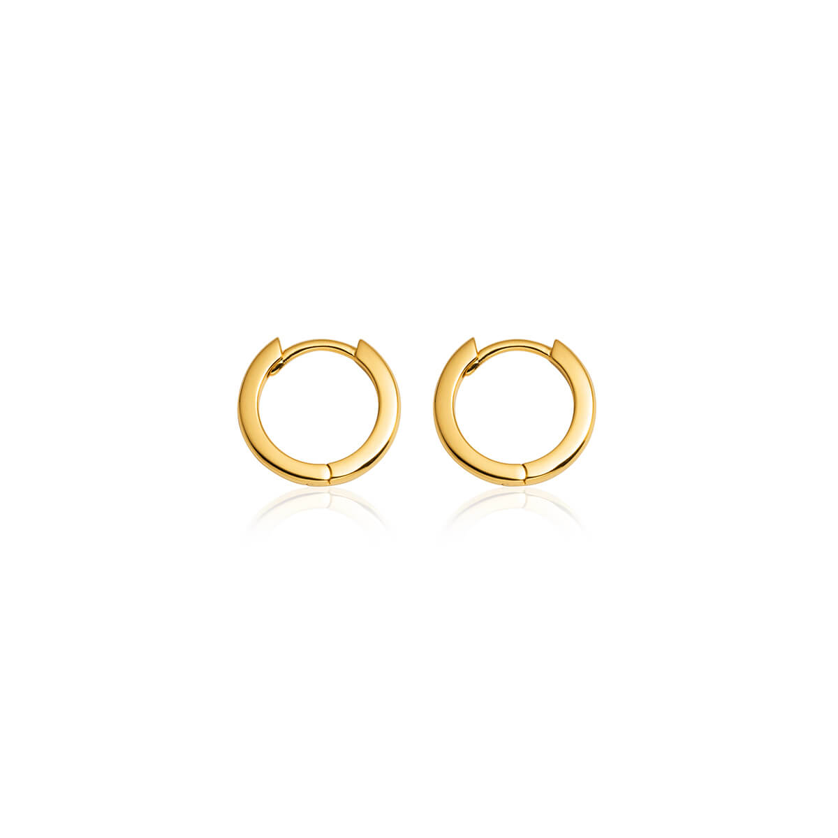 Sterling Silver Huggie Hoop Earrings (Gold)
