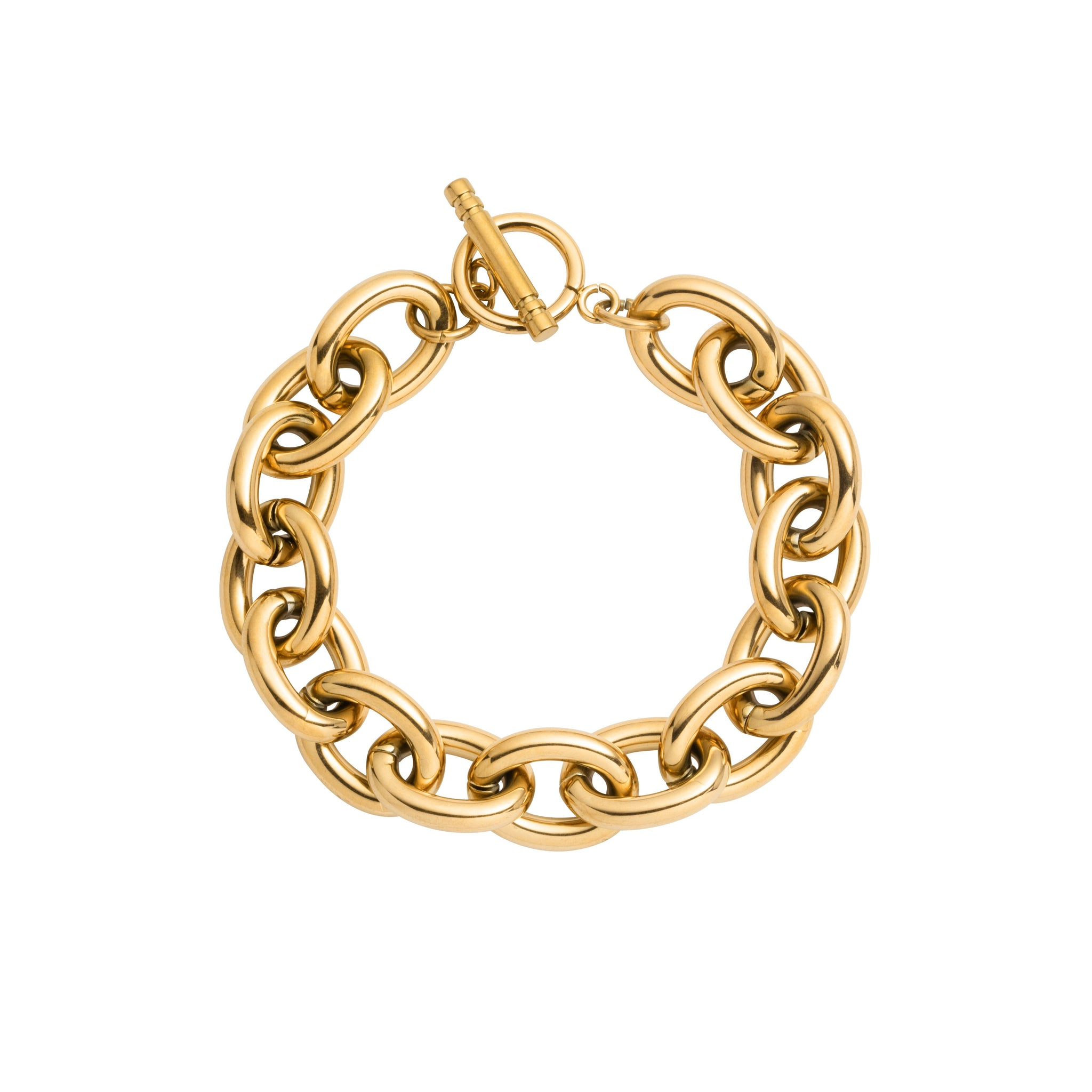 Oval Link Chain Bracelet (Gold)