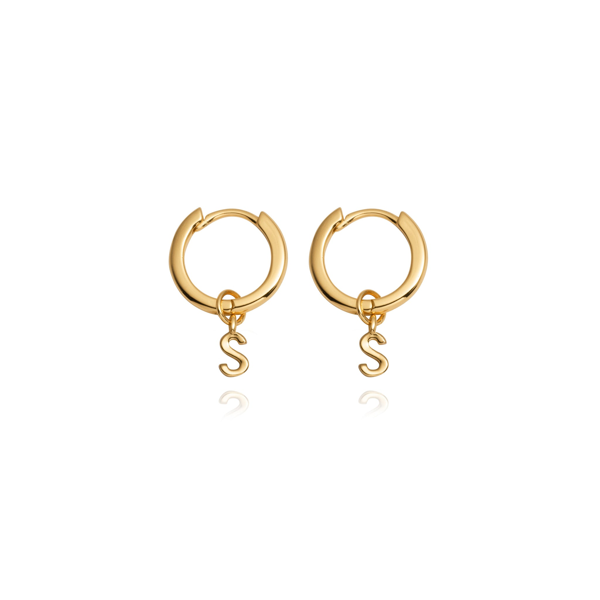 Sterling Silver Letter Pendant Earrings (Gold)