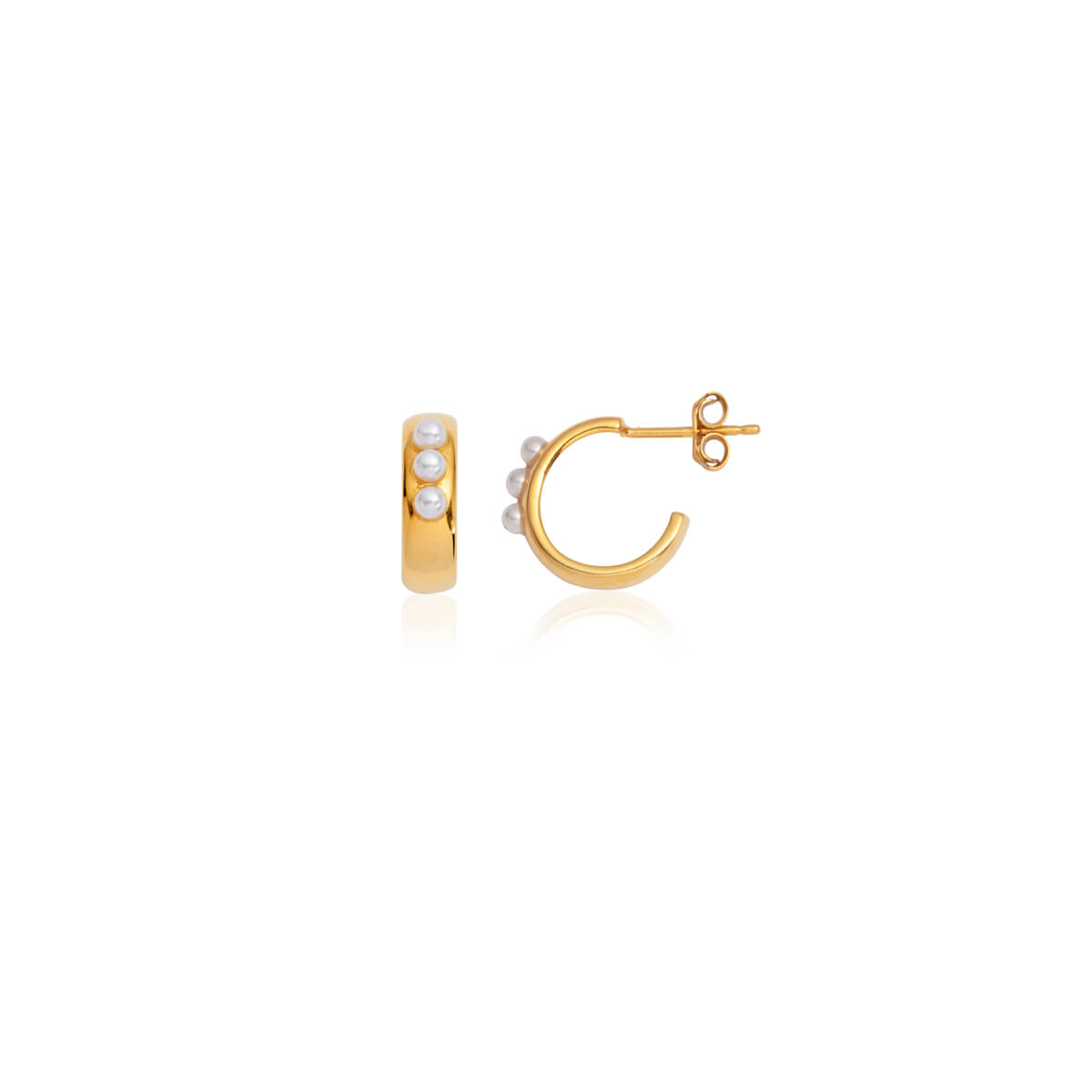 Pearl Mini Hoop Earrings (Gold)