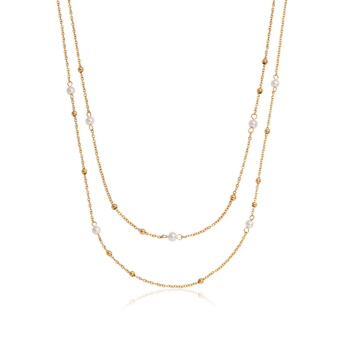 Pearl Double Sphere Chain Necklace (Gold)