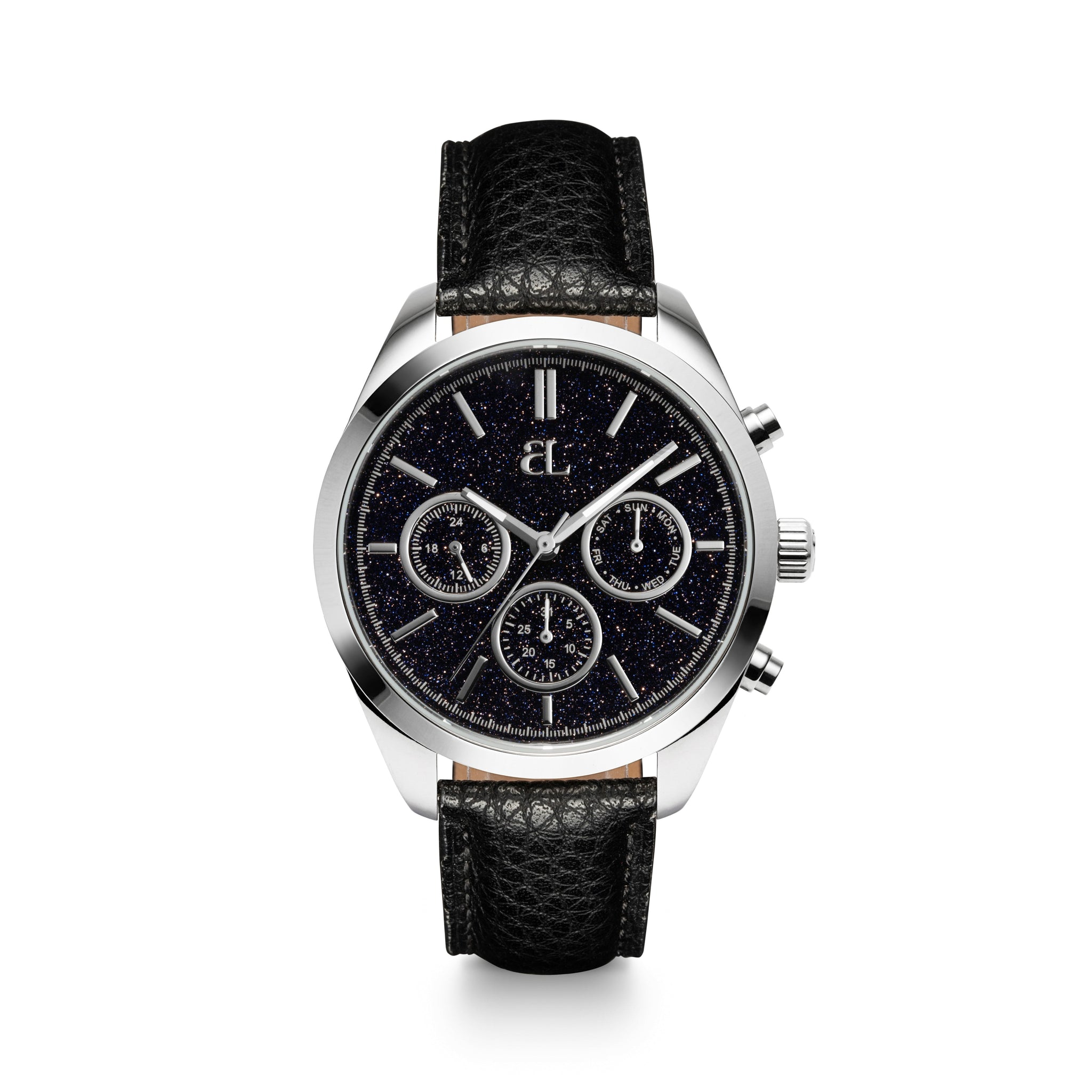 Jet Black Leather Silver Estrella Chronograph 42