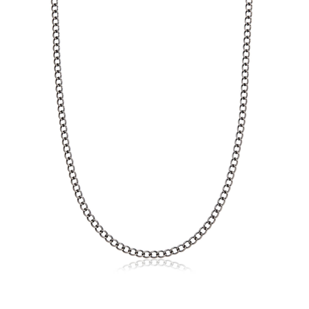 Selected Curb Chain Necklace 20 in (Gun Silver)