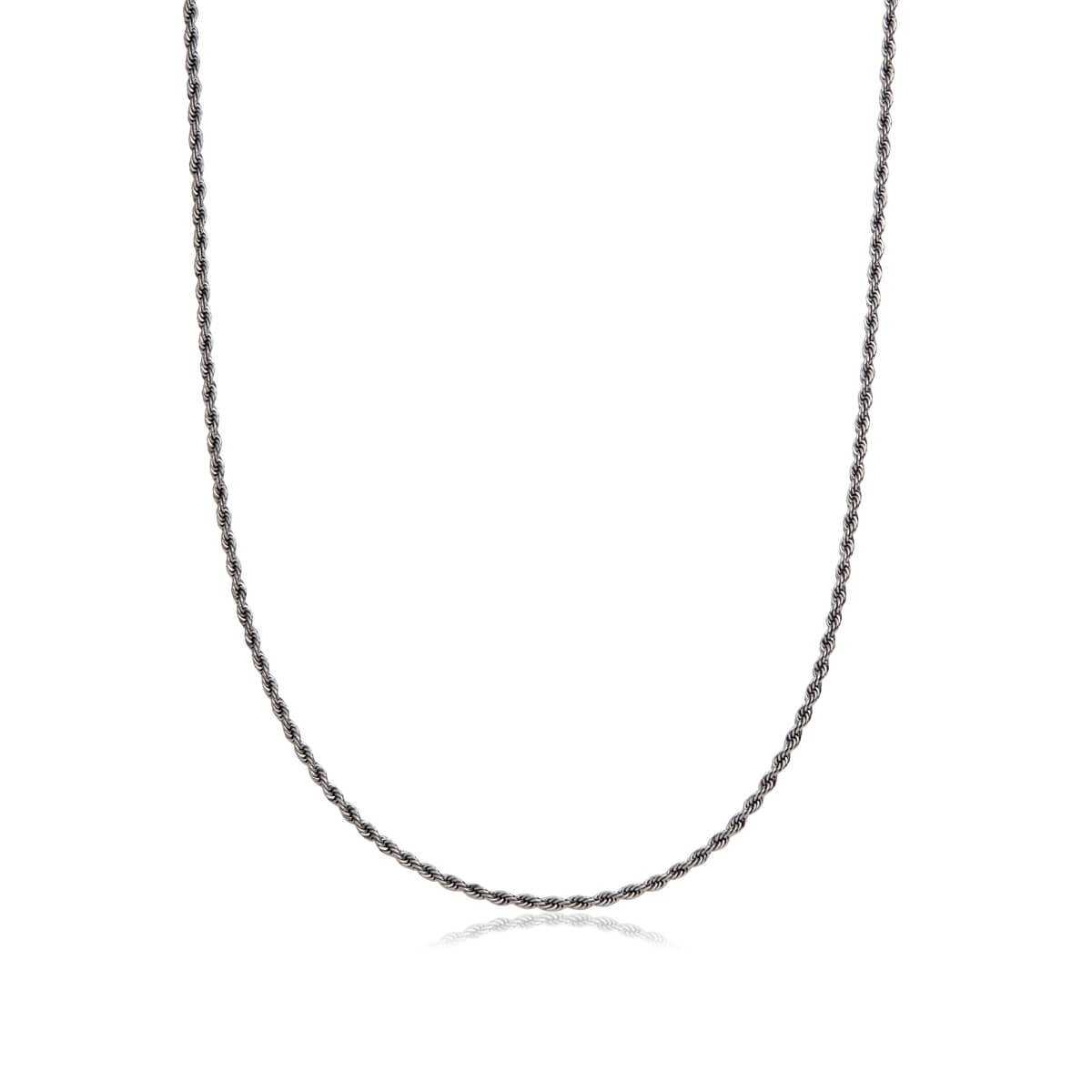 Rope Chain Necklace 20 in (Gun Silver)