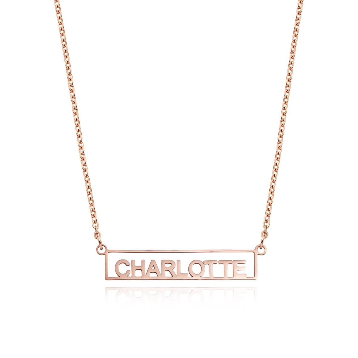 Framed Name Necklace (Rose Gold)