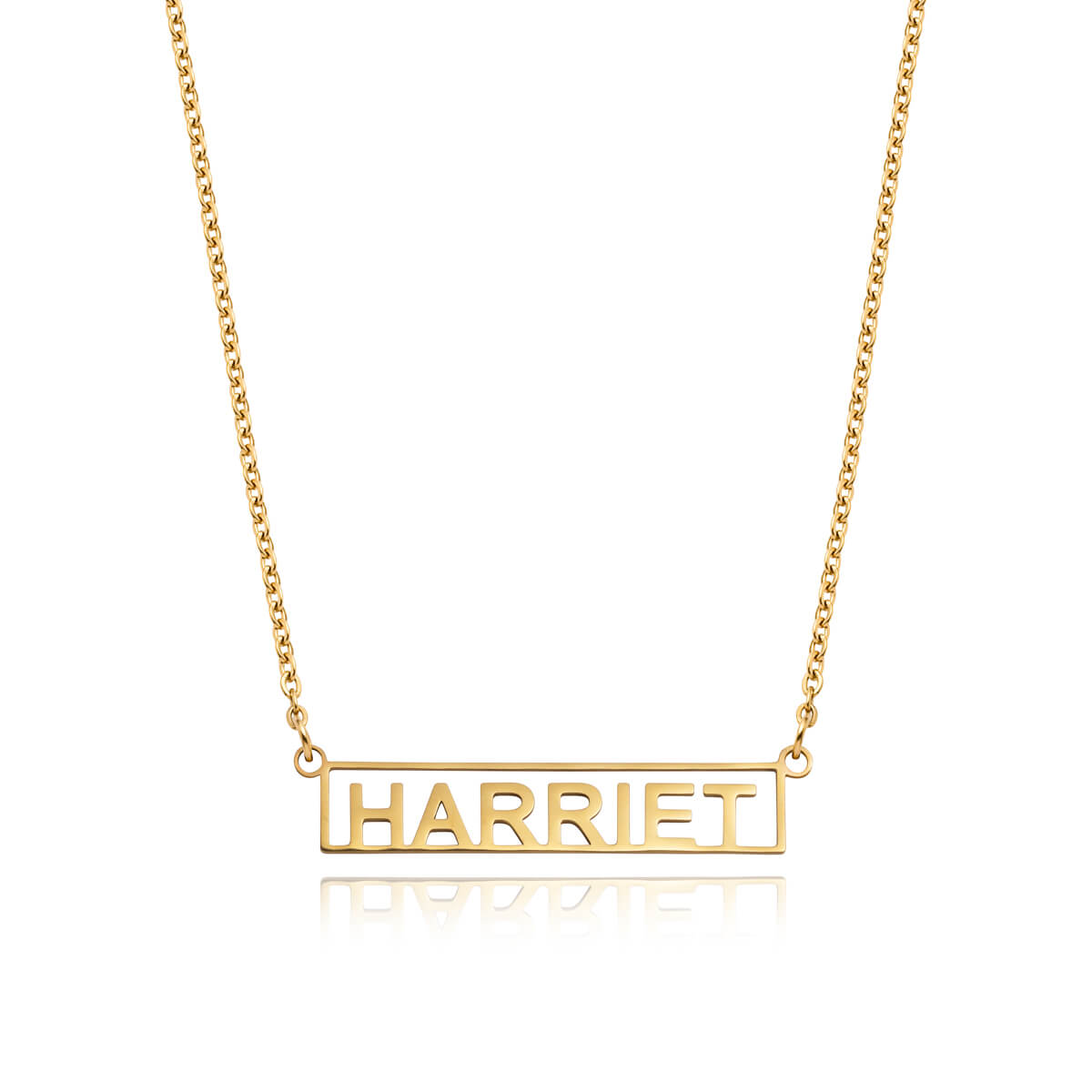Framed Name Necklace (Gold)