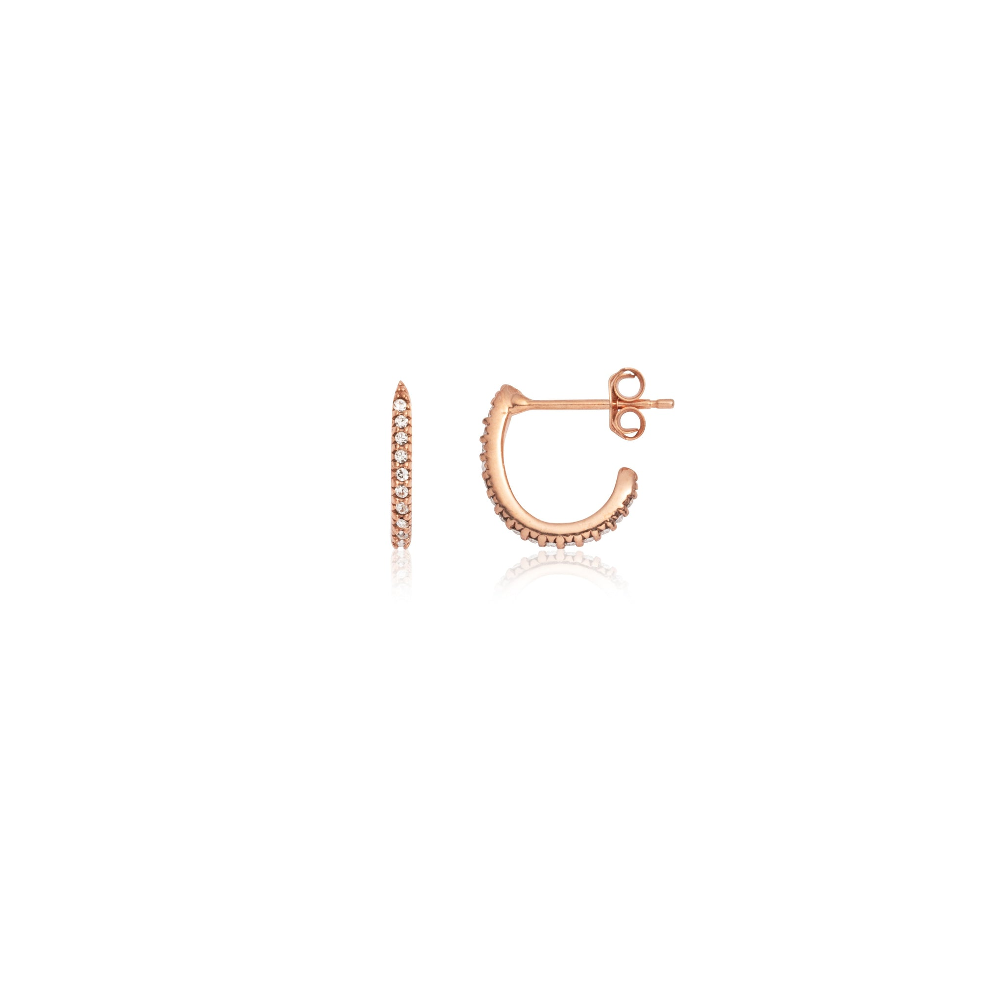 Crystal Mini Hoop Earrings (Rose Gold)
