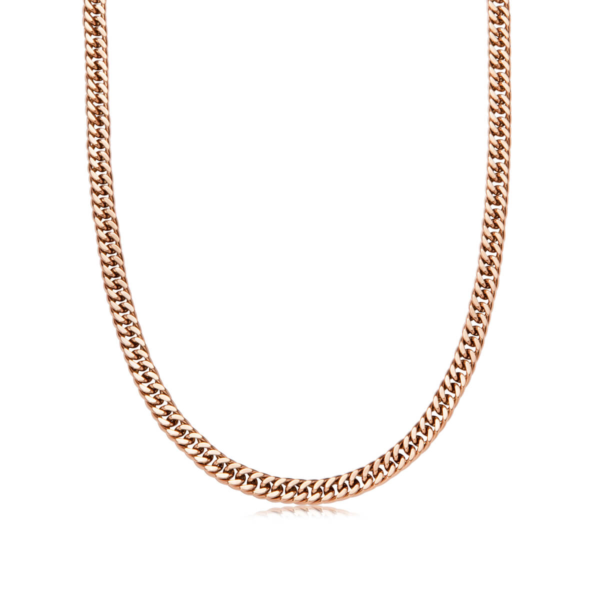 Gold Bar Curb Chain Necklace 18 in (Rose Gold)