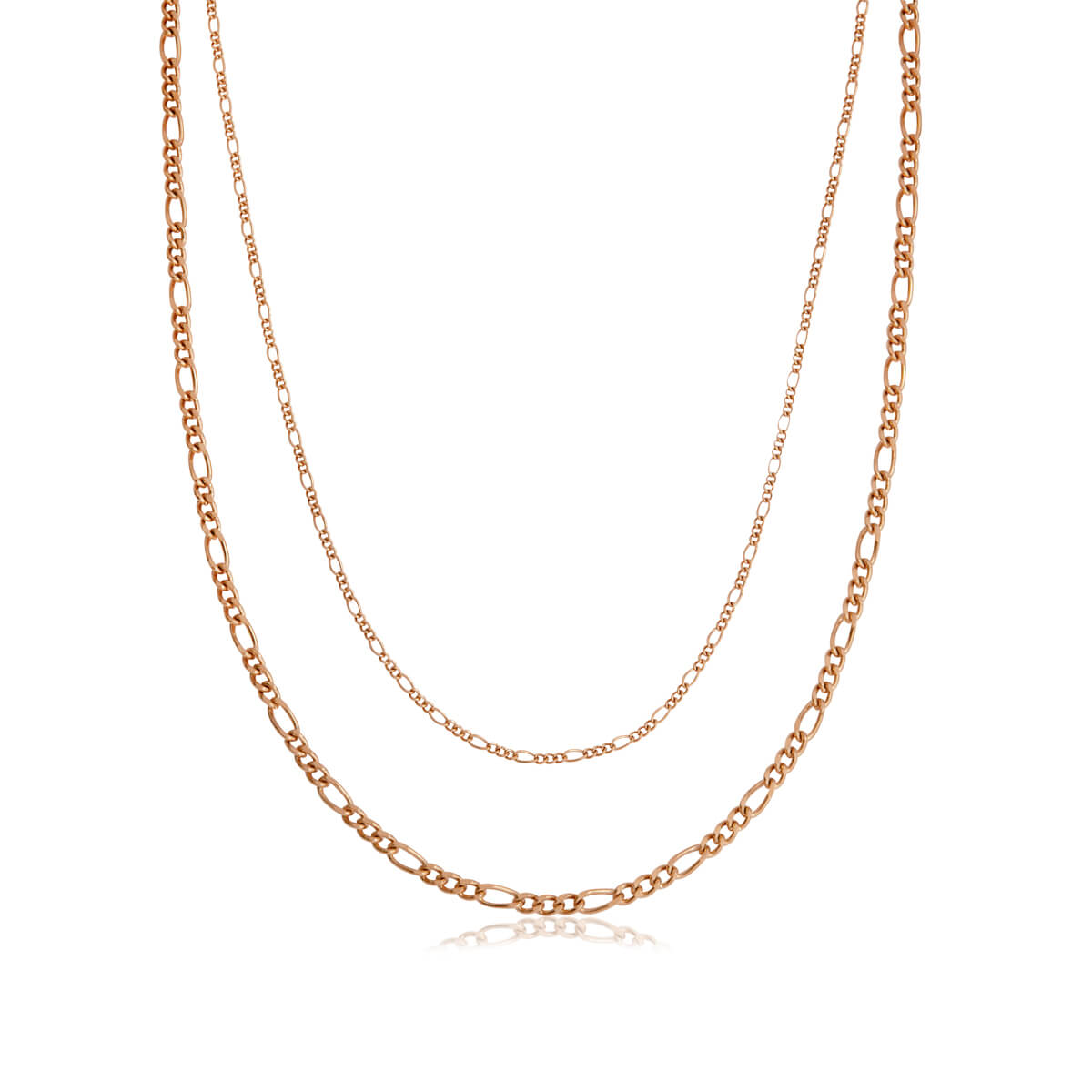 Double Chain Figaro Necklace (Rose Gold)