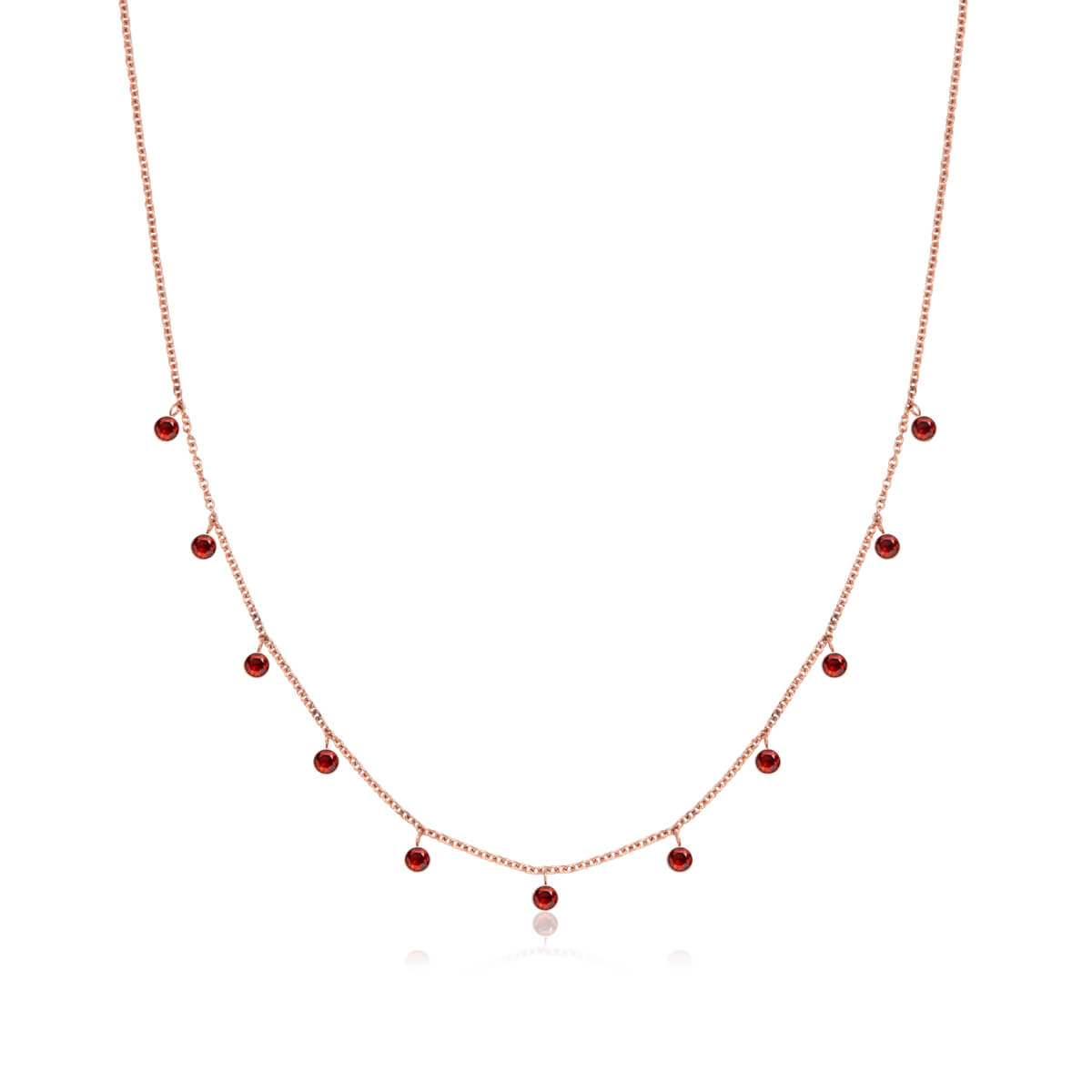 Fuchsia Droplet Necklace (Rose Gold)