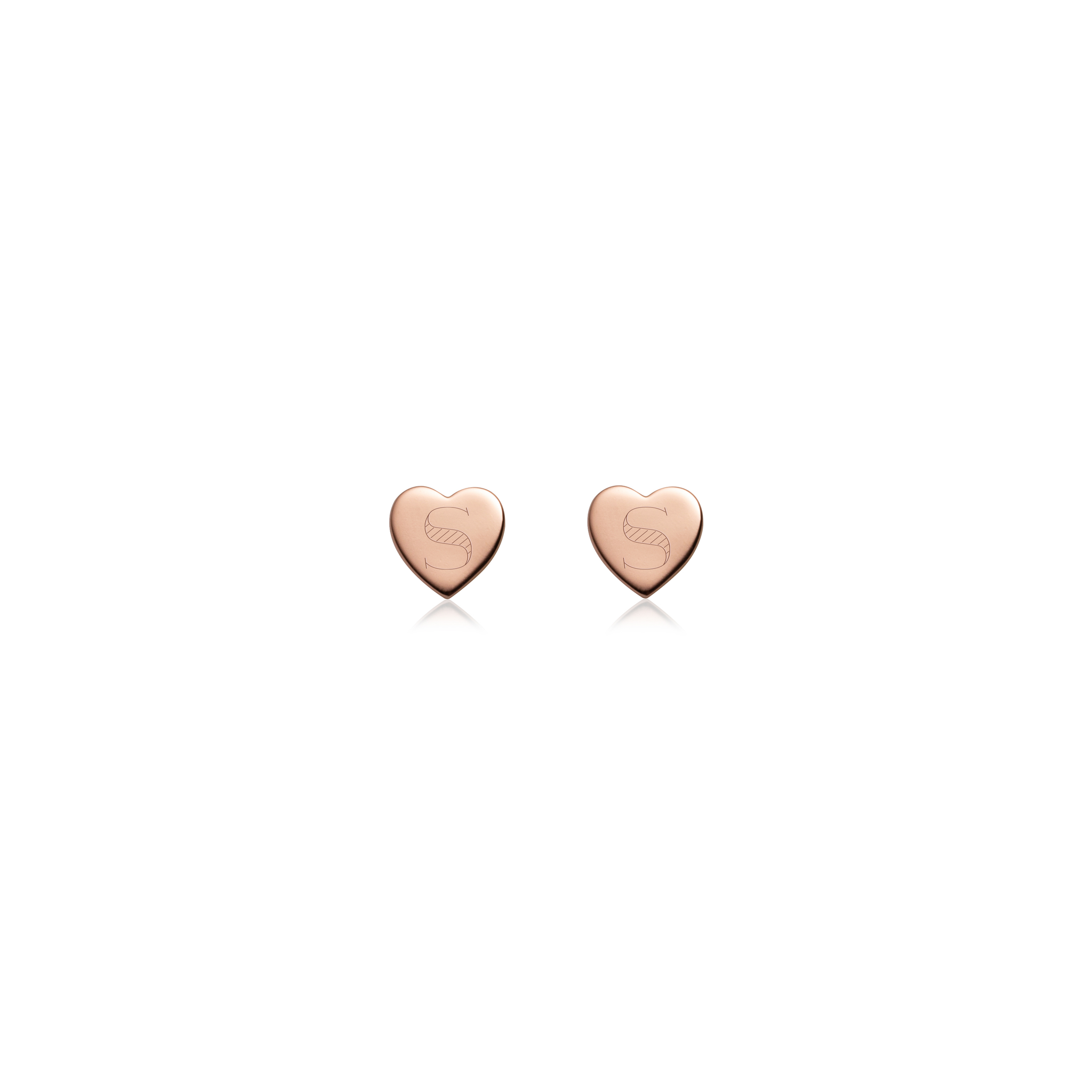 Sterling Silver Heart Stud Earrings (Rose Gold)
