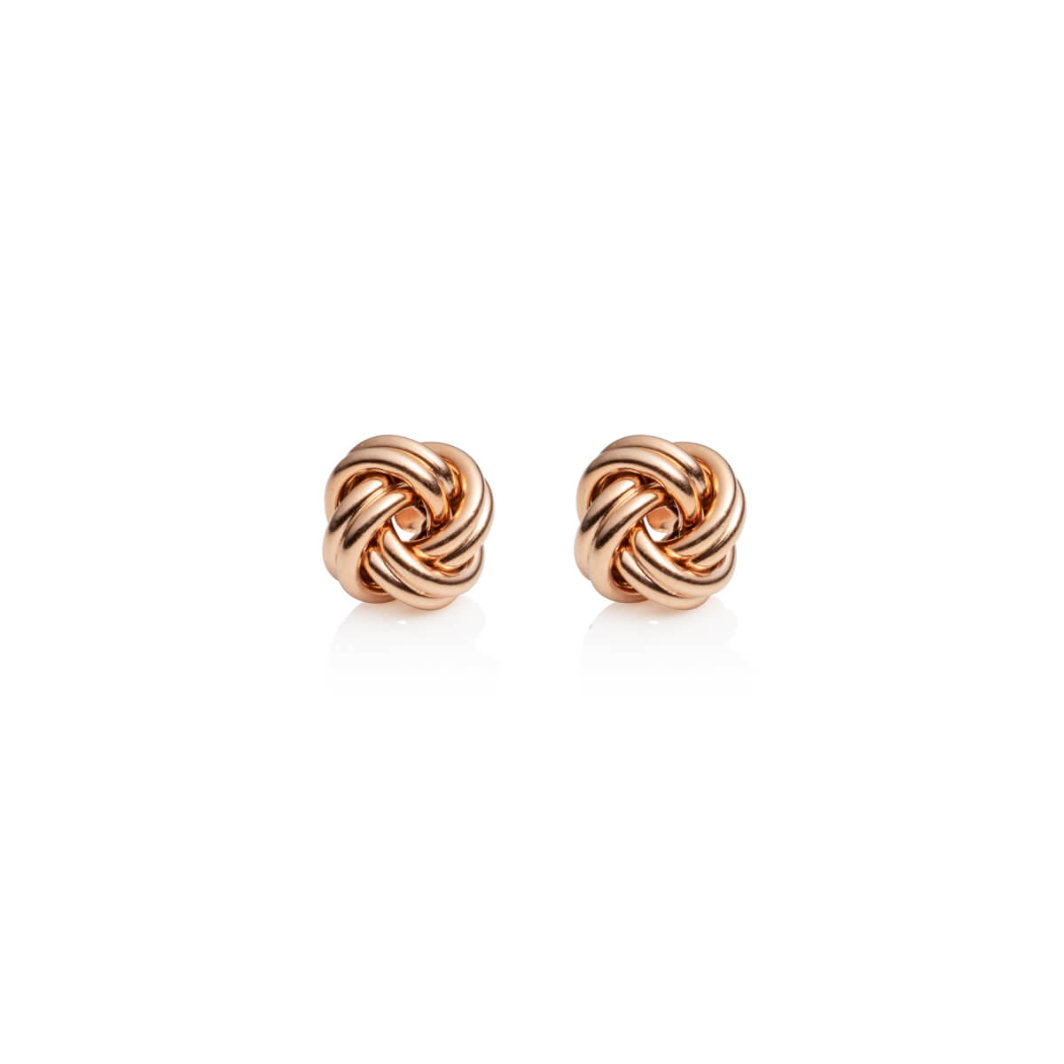 Sterling Silver Knot Stud Earrings (Rose Gold)