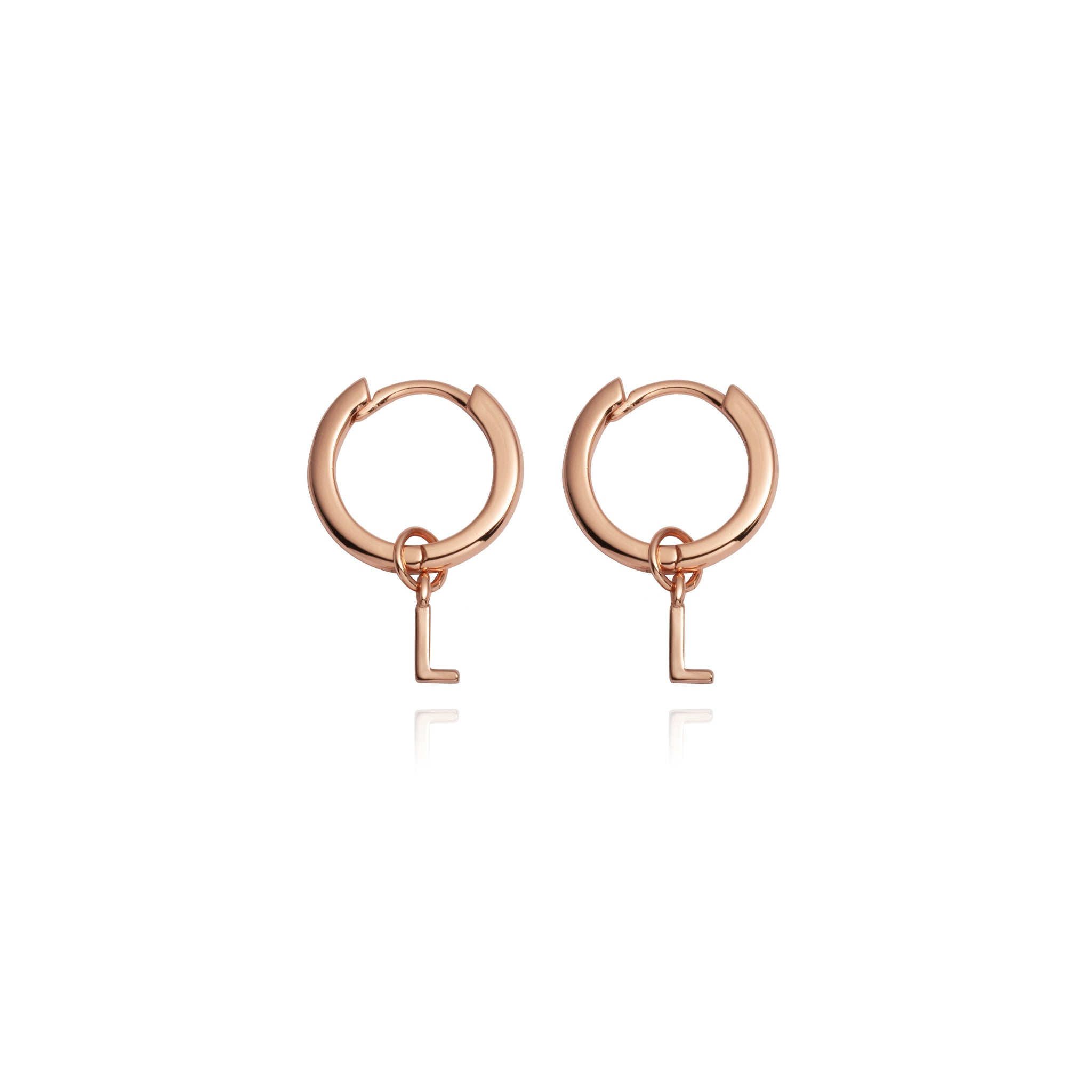 Sterling Silver Letter Pendant Earrings (Rose Gold)