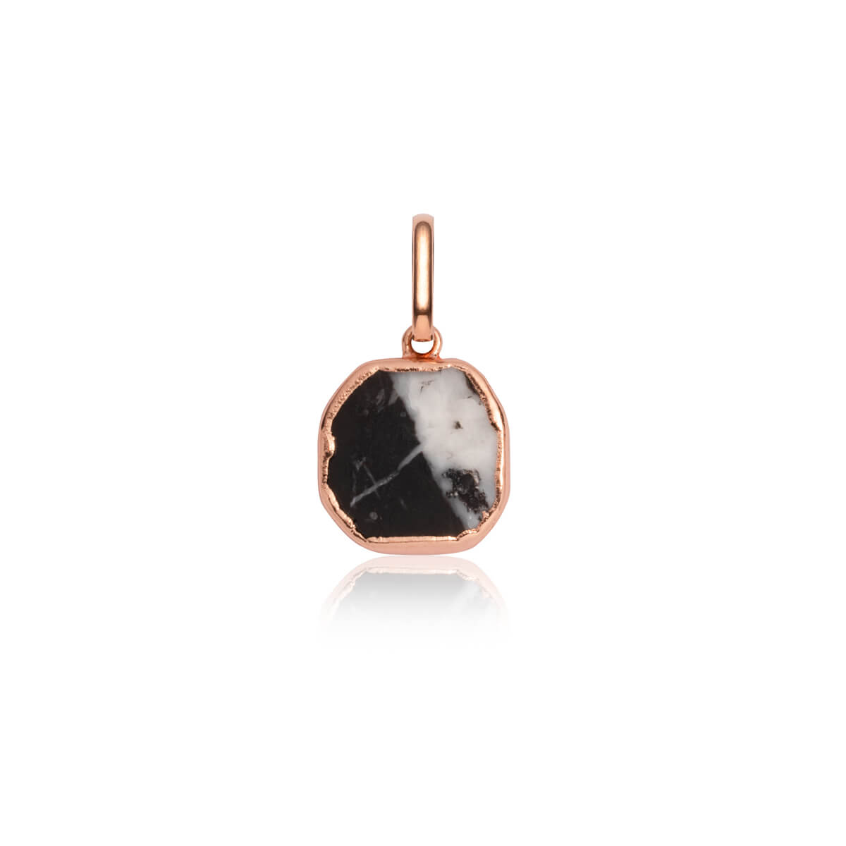 Black Marble Metallic Pendant (Rose Gold)